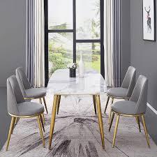 easyliving esstisch stühle set marmor esszimmer möbel luxus