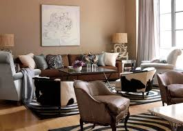 light brown living room with brown sofa and different style side
