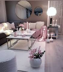 decor in the living room gray pink and white color scheme
