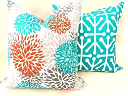 Orange Pillows Cool Turquoise Decorative Pillows Pillows Set 2