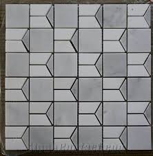 greece white marble mosaic pattern tile with discount from china