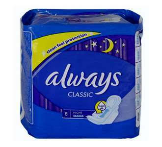 Always Classic Night Sanitary Pads - with Wings, 8ct