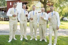 Groomsmen In Tan Vests And Pants