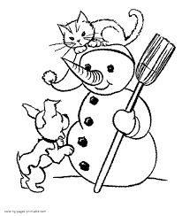 Neoteric Ideas Cat Coloring Pages Dog And Play With Snowman