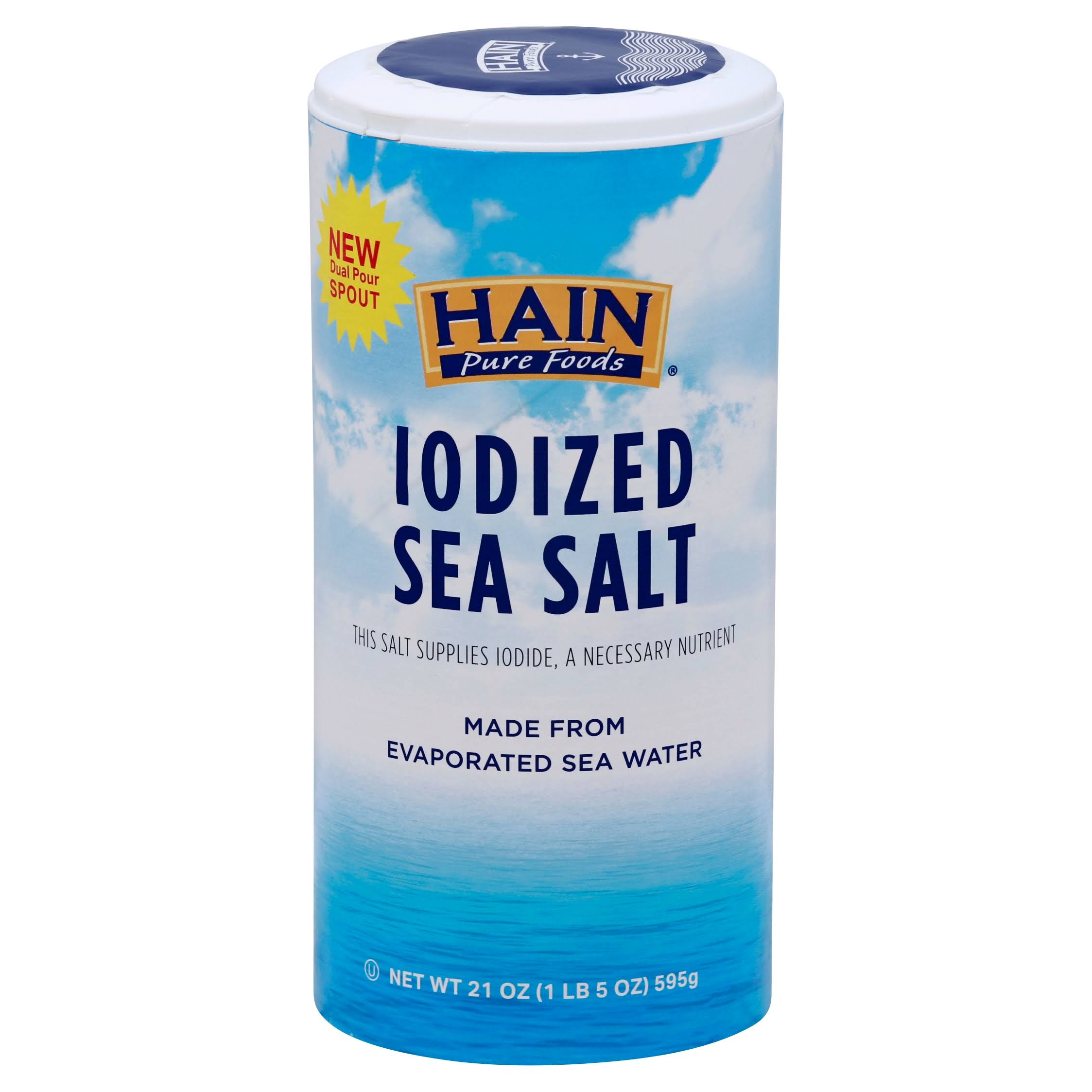 Hain Pure Foods Iodized Sea Salt - 21 oz canister