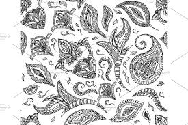 Seamless Floral Retro Background Pattern In Vector Henna Paisley Mehndi Doodles Design Easy Editing