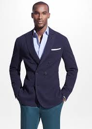 mango double breasted piqué blazer in blue for men lyst
