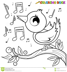 Royalty Free Vector Download Bird On Branch Singing Coloring Page