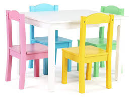Kids Play Table Chair Set 5pc Toddler Child White Pastel Activity Wood  Furniture