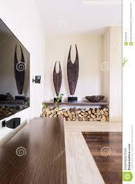 100 House Inside Decoration Modern Fireplace Wood Storage Stock Photo