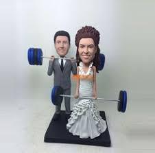 Weight lifting Cake topper Wedding Cake Topper bobble head custom