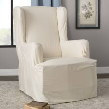 Sure Fit Cotton Duck T-Cushion Wingback Slipcover & Reviews | Wayfair Chair Slipcovers Unique Ding Cap Covers Pinterest Inside Childs Rocking Chair Wood Rocking Children39s Room Arm Pottery Barn Couches For Sofa Cope Fniture Awesome Sectional Sure Fit Target Bedding Reviews Bed Plush Terry Velour Lounge Gcmloungecover French Country Door Patio Fniture The Home Depot Cheap Chaise Lawn Find Deals How To No Sew Upholstered Boho Youtube Replacement Cushions Outdoor Couch Protectors Pads Walter Drake