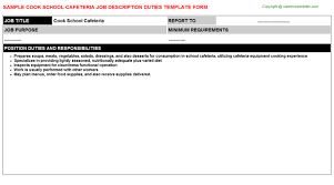Cook School Cafeteria Job Description Template