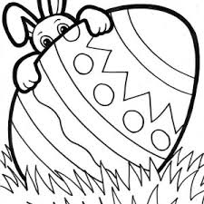 Easter Bunny Hiding Behind Giant Egg Coloring Page