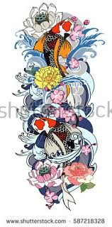 Hand Drawn Koi Fish With Flower Tattoo For Arm Japanese Carp Line Drawing Coloring Book