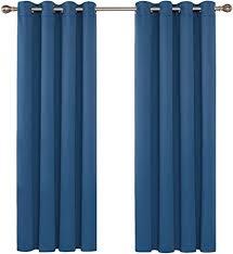 deconovo gardinen schlafzimmer blickdicht vorhänge landhaus 138x140 cm blau 2er set