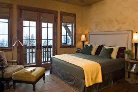 Window Treatment For French Doors Bedroom Rustic With Area Rug Bamboo Blinds