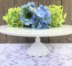 12 Inch Round Porcelain And Milk Glass Cake Stand White Wedding Plate Pedestal Barn Or Rustic