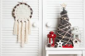 Cream Crochet Doily Dream Catcher Wooden Christmas Tree Red And White Candlesticks On