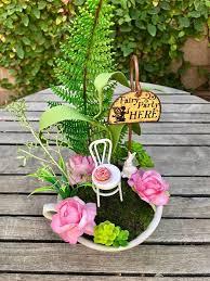 Teacup Fairy Garden Cake Topper