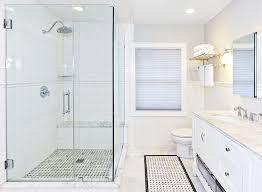 bathroom chair rail white subway tile shower with chair rail