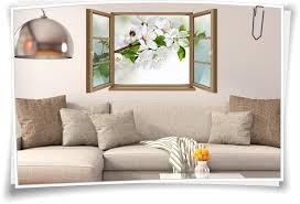wand wand bild fenster kirschen blüten weiß grün braun aufkleber folie deko