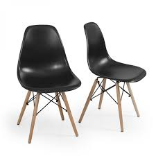 Wayfair Dining Room Side Chairs by 2 Pc Black Molded Side Dining Chairs Modern Century Dsw Style