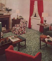The 1940s Living Room Was Clutter Free And Featured Drapes Lighting Ample Furniture Note Floral Fabrics Red White Theme