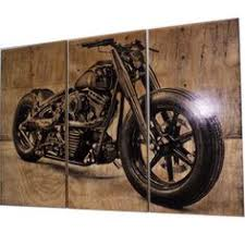 Harley Davidson Fatboy Softail Motorcycle Bike Print Wood Painting Wall Art On
