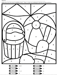 Good Coloring Addition Color By Number Christmas In First Grade Math Worksheets Page