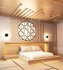 schlafzimmerdesign japanisches holz mit latten und hiden licht wand design3d rendering stockfoto und mehr bilder architektur