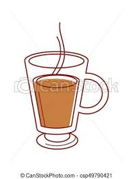 Transparent Glass Cup Of Hot Coffee Isolated Illustration
