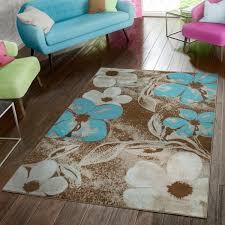 teppich modern blumen muster braun blau