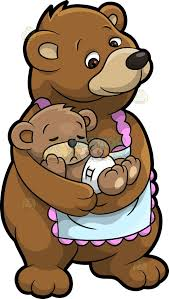 A Mama Bear And Her Sleeping Cub Cartoon Clipart