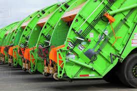 100 Green Trucks Garbage Trucks In A Row Stock Photo Dissolve
