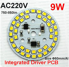 free shipping 100pcs 220v 9w dimmable integrated driver 2835 led