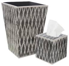 Allen G Designs Gray Trellis Design on Charcoal Wastebasket and