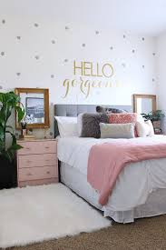 Fascinating Bedroom Ideas Girls White Decorated Wall Grey Bed Mattress Rug Brown Carpet