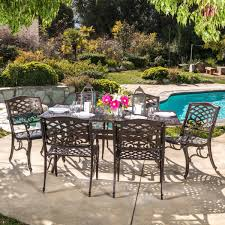 Darlee Patio Furniture Nassau by Odena Cast Aluminum 7 Piece Outdoor Dining Set With Rectangular