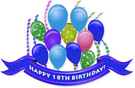 Happy 18th Birthday with ribbon streamers balloons and animation