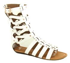 womens mid calf cut out flat gladiator sandals ladies summer shoes