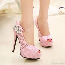 Lace Wedding Pumps High Heels Shoes Dress Pink Women Thin Party Green Boots From