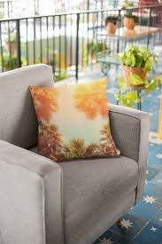 Vintage Style Pillow With Tropic Palm Trees Against Sky At ...