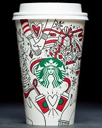 Starbucks Unveils Its First White Holiday Cup With A Pair Of Hands Connected Swirling Ribbons And Splashes Red Green