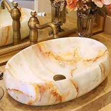 hiwenr ovales waschbecken aus keramik für badezimmer