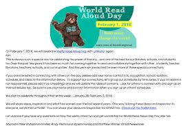 Last Day For 1 Any by The Library Voice Skype With An Author On World Read Aloud Day