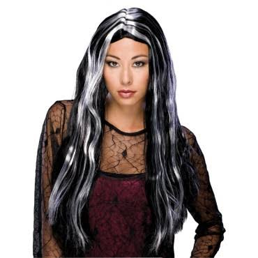 Rubie's Long Streaked Witch Wig, Black/Grey, One Size