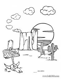 Desert Landscape And Animal Coloring Page For Kids Free
