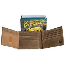 carhartt two tone billfold with wing wallet and collectible tin
