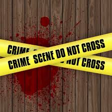 Crime scene background with blood splatter on wood with yellow